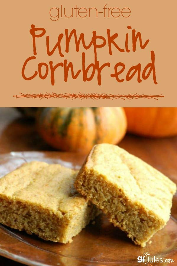 gluten free pumpkin cornbread, can be dairy free and vegan - gfJules