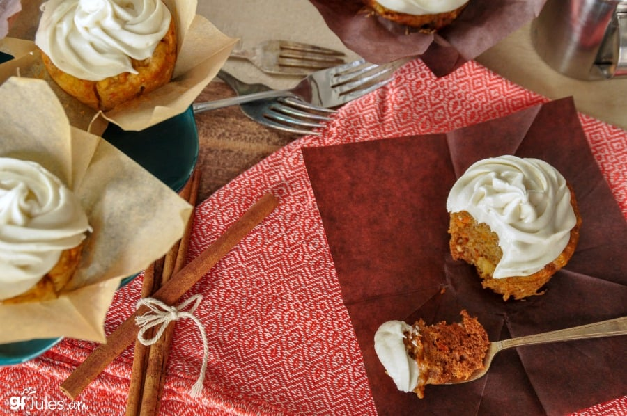 gluten free carrot cupcakes with fork