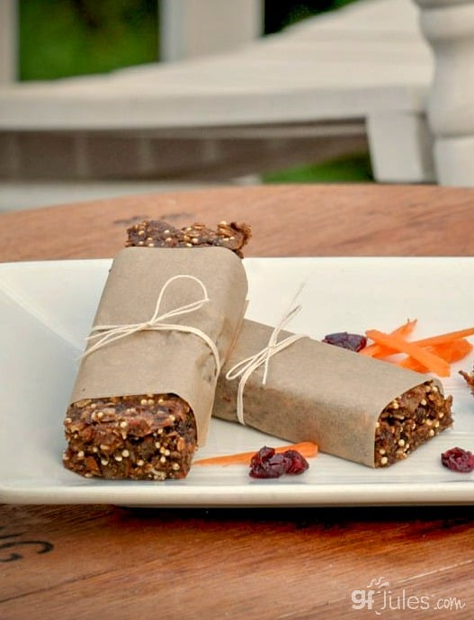 gluten free granola bars in paper outside