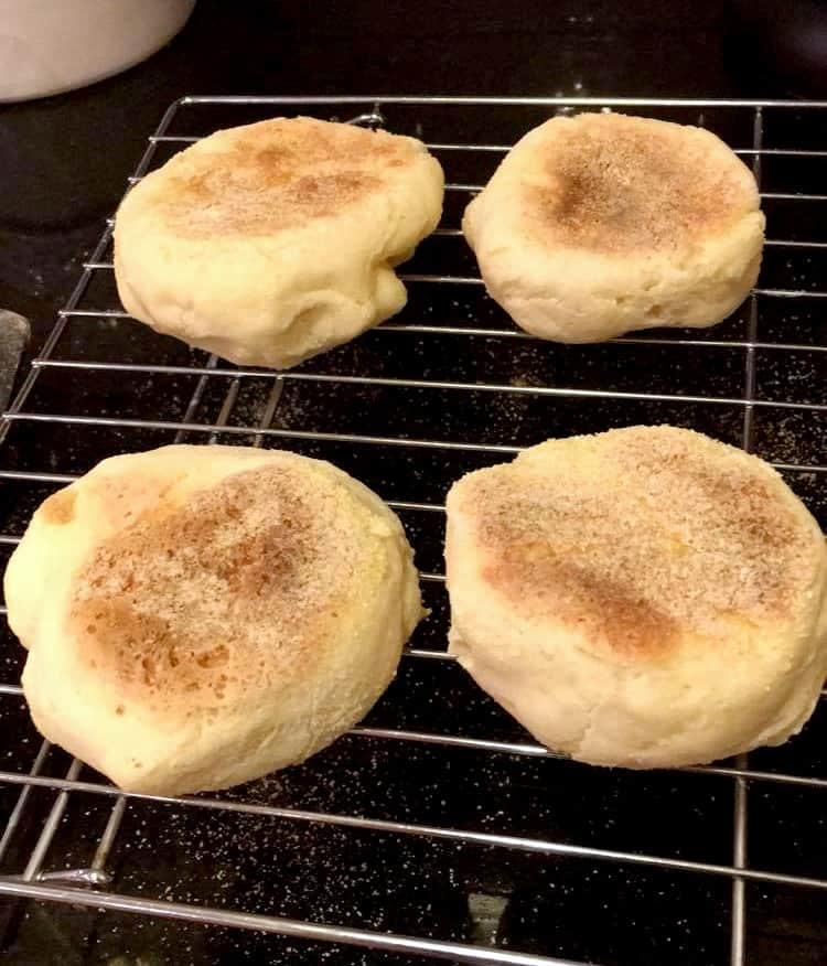 Joy's Gluten Free English Muffins made with stove-top technique.