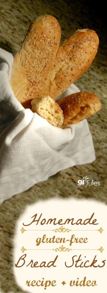 homemade gluten free breadsticks with recipe and video gfJules.com