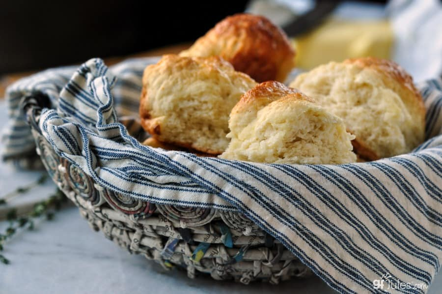 Gluten free pull apart dinner rolls in basket 3