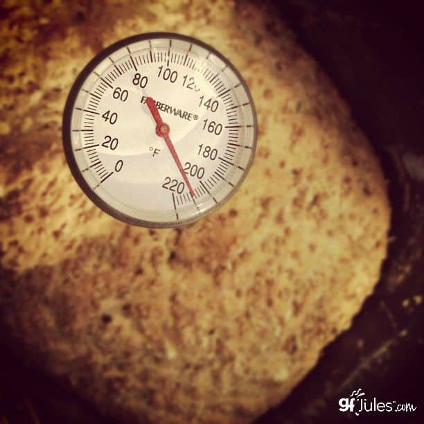 Use an internal thermometer to test your gluten free bread before removing from the oven or bread maker.