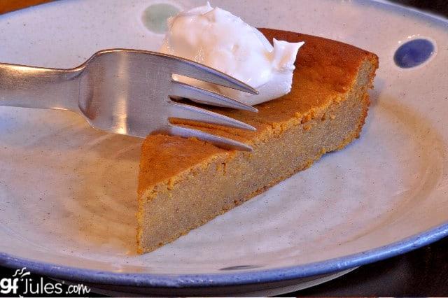 gluten free crustless pumpkin pie slice