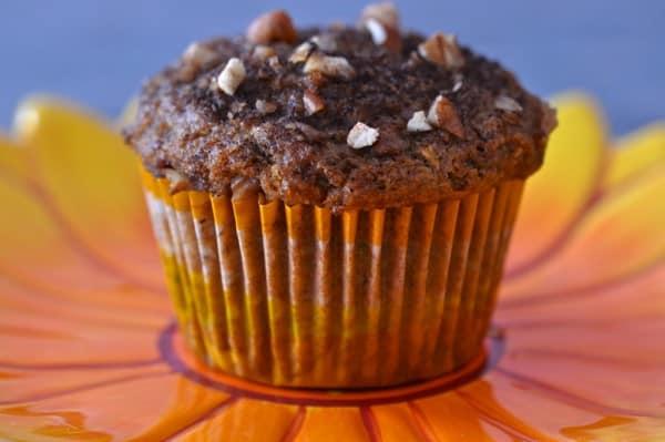 Pumpkin zucchini muffin made with gfJules Gluten Free Muffin Mix