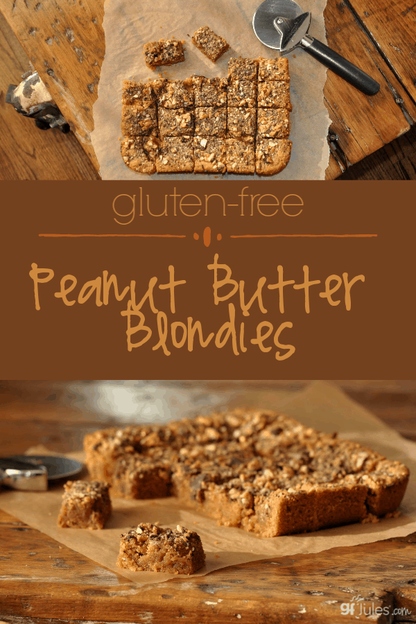 This delicious twist on the brownie will have all nut butter lovers rejoicing! You must try this easy Gluten Free Peanut Butter Blondies recipe!