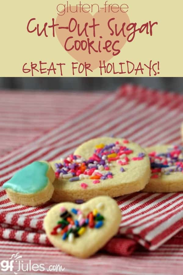 Gluten Free Cut-Out Sugar Cookies gfJules are a must for holidays like Valentine's Day and St. Patrick's Day!