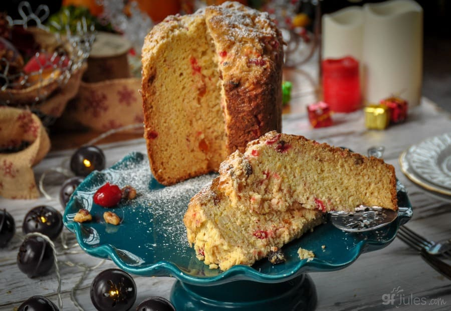 gluten free panettone on cake tray wide