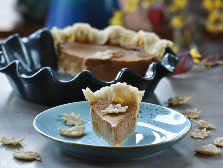 gluten free pumpkin pie slice with leaves | gfJules