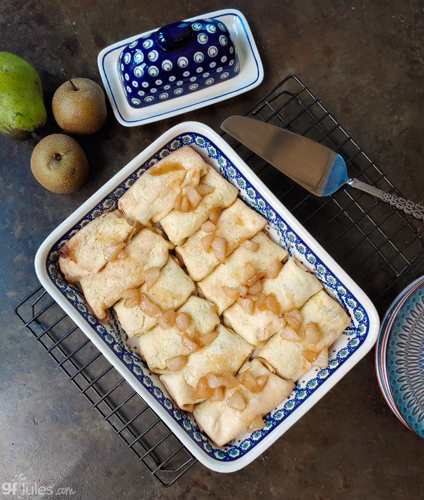 gluten free dairy free blintzes with spiced maple pears   gfJules
